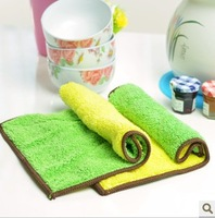 Waste-absorbing 1426 soft double faced wool table dishclout ultrafine fiber cleaning cloth green