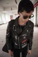 Hot sale !  Men's fashion new stage singer Dj Gd street punk skull leather jacket outerwear men's clothing / S-XXL