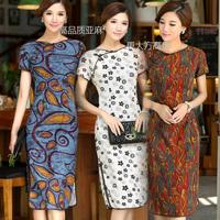 Long design linen fluid cheongsam dress one-piece dress bride wedding dress vintage national trend women's