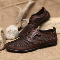 2014 hot sale!!! Men's Genuine Leather casual shoes summer mesh breathable shoes  male Men single shoes free shipping