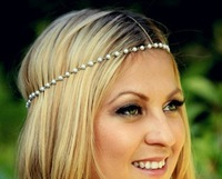 New BOHO Brief Style Created Pearls Beaded Bohemian ,Music Bridal Hair  Head Chain / Head Jewelry