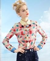 New 2014 spring M-XXL Fashion Women Shirt print candy color Chiffon Blouse Long Sleeve Joker fashion