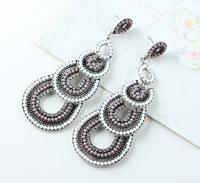 Hot High Quality Women Long Big Alloy & Resin Pendant Vintage Earrings Handmade Bohemia/Ethnic Statement Earring Jewelry E010432