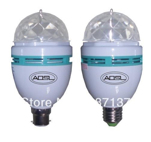 3W RGB DJ Stage Lighting Bulb Disco Crystal Ball Auto Rotating Light 110/220V E27 E26 Base Lamp RGB LED lamp 2pcs/lot(China (Mainland))