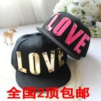 Hiphop crystal acrylic letter love flat along the cap baseball cap