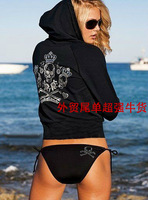 Bikini New 2014 Cool personality rhinestones skull split bikini swimwear  Summer brand Free shipping Hot sell