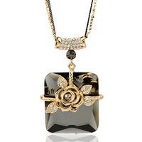 2014 trendy long necklaces & pendants Czech crystal flower gold necklace
