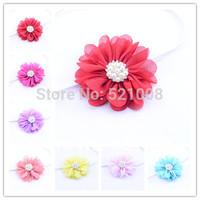 2014 New Promotion Chiffon Flower Headband Baby Girl DIY Headwear Elastic Thin Headband Apparel Accessorie Photo Prop 12pcs Free