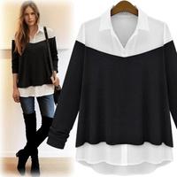 Free Shipping! Women Plus size Spring and Autumn New arrival 2014 Fashion Loose Shirt,Female Slim OL Blouse XL XXL XXXL 4XL
