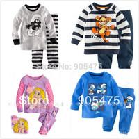 Retail baby boy girl kids sleepwear suits toddler cartoon pajama Children 100% cotton long sleeve pajamas sets #02