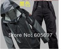 2014 winter brand men's softshell ski jacket +pants sport suit,windproof,waterproof,camping&outdoor jacket ski suit set for men