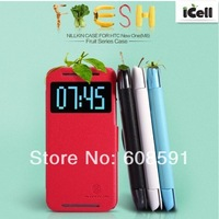 Original Nillkin Brand Fresh Series Flip Leather Case For HTC New One 2 M8 With Wake UP/Sleep Function ,MOQ:1PCS free ship