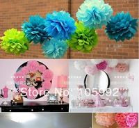 "Free Shipping -100pcs 8""(20cm) Tissue Paper Pom Poms Wedding Party Decor Craft festival decoration"