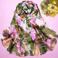 2014 scarf chiffon silk scarf autumn and winter women's cape dual design long scarf flowers