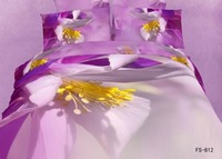 New Beautiful 4PC 100% Cotton Comforter Duvet Doona Cover Sets FULL / QUEEN / KING bedding set 4pcs white purple yellow flower