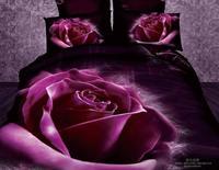 New Beautiful 4PC 100% Cotton Comforter Duvet Doona Cover Sets FULL / QUEEN / KING bedding set 4pcs purple big rose