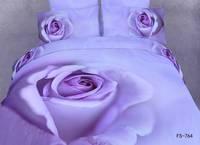 New Beautiful 4PC 100% Cotton Comforter Duvet Doona Cover Sets FULL / QUEEN / KING bedding set 4pcs purple big rose flower o-854