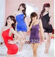 Sexy Lingerie Black/Blue/Purple/Red Lace Dress+G String Free Size Sleepwear Underwear Uniform Kimono Costume Pajamas 1010