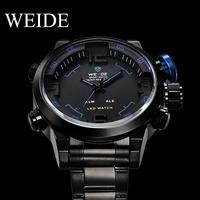 Hot Sale Watch WEIDE Men Sport Digital Analog Quartz Watch Black Stainless Steel Band Waterproof  Wristwatch Led Dispaly