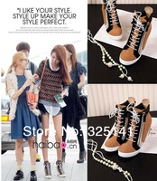 2014 new spring genuine leather 6 colors block decoration wedges fashion high-top shoes elevator shoes casual shoes