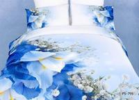 New Beautiful 4PC 100% Cotton Comforter Duvet Doona Cover Sets FULL / QUEEN / KING bedding set 4pcs white blue flower op-99