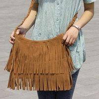 2014 spring and summer women messenger bag bolsa vintage leather handbags designer tassel shoulder bag Suede Fringe free ship
