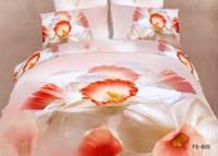 New Beautiful 4PC 100% Cotton Comforter Duvet Doona Cover Sets FULL / QUEEN / KING bedding set 4pcs white orange flower op-43