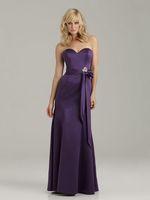 The Simple Bridesmaid Gowns for Beaded Bowknot Sashes Mermaid Purple Taffeta Floor-length BD2333