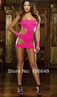 sexy lingerie pink rivet min clubwear dress+gstring 2pcs new set sleepwear underwear costume kimono uniform