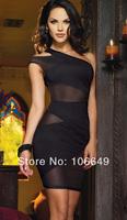 sexy lingerie black mesh Interphase dress+g string 2pcs new set sleepwear underwear costume kimono uniform
