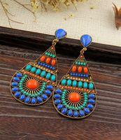 Hot High Quality Women Long Big Alloy&Resin Pendant Vintage Earrings Handmade Bohemia/Ethnic Statement Earring Jewelry ER-013505