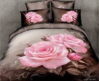 New Beautiful 4PC 100% Cotton Comforter Duvet Doona Cover Sets FULL / QUEEN / KING bedding set 4pcs pink rose flower op-44