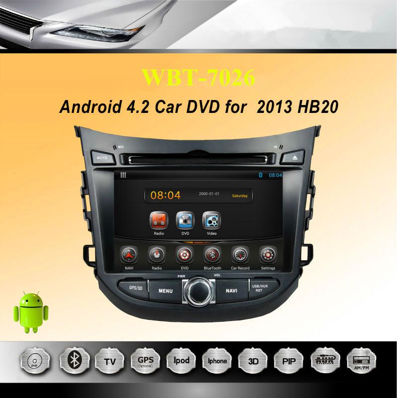 "Hot Sale 7"" Car Autoradio Sat Nav Russian Android DVD For 2013 Hyundai B20 with 3G WIFI GPS Bluetooth RDS Radio USB SD CD Audio(China (Mainland))"