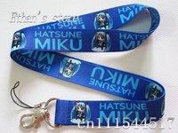 Free Shipping Blue Hatsune Miku Project Diva Key lanyard Hatsune Okumura Mobile neck strap