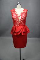 Yarn red lace bride short design small dress formal dress