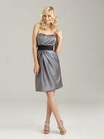 Size Available A-line Strapless Ruched Black Sash Knee-length Dark Gray Taffeta Bridesmaid Dresses BD230