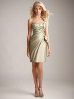 Size Available Sheath Strapless Ruffles High Quality Gold Satin Short Mini Length Bridesmaid Dresses
