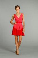 Fashion Styles A-line Wide Straps V-neck Red Chiffon Short Mini Length Bridesmaid Dresses BD244