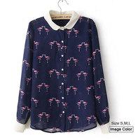 HZA025 Brand New Fashion Women Elegant Crane Animal Print Shirts Peter pan Collar Long Sleeve Slim Chiffon Blouses Tops