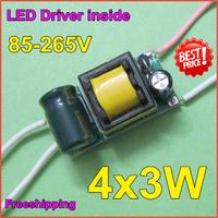 10pcs/lot4X3W LED lamp Iside driver9W inside driver9W12WLED lamp driver85-265V input forE27E4lamp quality freeshippingZYE3-4-3
