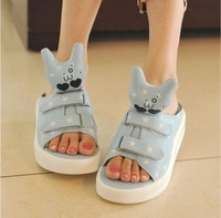 Free Shipping 2014 summer cartoon rabbit platform sandals swing shoes female slippers