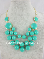 (Min.mixed item$10)Free shipping hot sale 2014 turquoise drop pendant choker necklace stone necklace bubble statement necklace