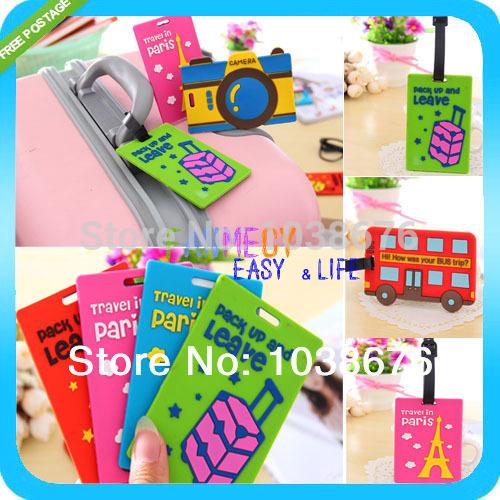 NEW Heavy-Duty PVC Cute cartoon travel Baggage Luggage tag Bag Tag bus card sets Silica gel products FREESHIPPING(China (Mainland))