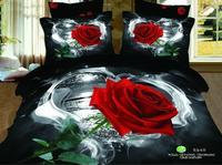 New Beautiful 100% Cotton 4pc Doona Duvet QUILT Comforter Cover Sets bedding set Full Queen King 4pcs flower red rose black OP84