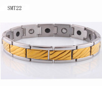 free shipping 2014 new jewelry gold magnetic power bracelet balance for men Germanium Stainless Steel charm Bracelets bangles