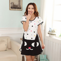 Summer cartoon women's nightgown o-neck milk silk sleepwear elastic short-sleeve print thin lounge