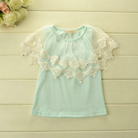 Wholesale--5pcs/lot  2014 New fashion summer Korean girls princess lace T shirt baby kids fashion sweet lace top free shipping