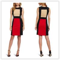 New 2014 Classic Beautiful Girl O-Neck Sleeveless Knee-Length Patchwork Casual Dress Back Zipper Vintage Slim Brief Dress S-XL