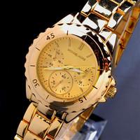 1pcs New 2014 Luxury Famous Brand Rotary Dial kors Clock Design Gold Quartz Full Steel Watch Men Watch Women Dressed Relogio