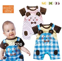 3pcs/lot,2014 new design rompers,Baby cotton romper,baby short sleeve romper,free shipping,children coveralls,wholesale